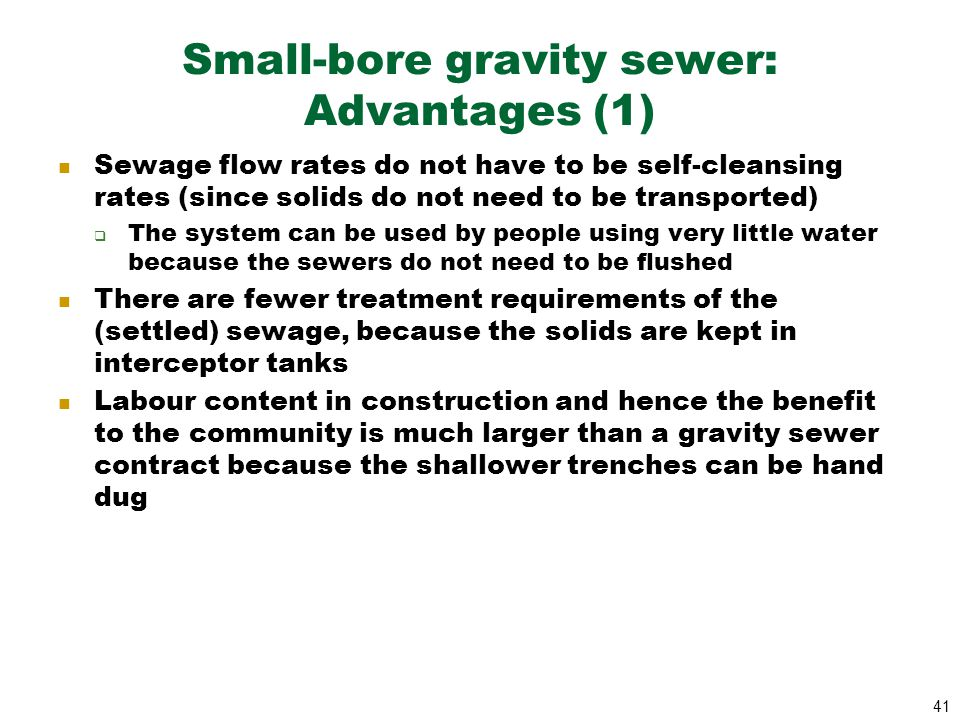 Small-bore gravity sewer: Advantages (1)
