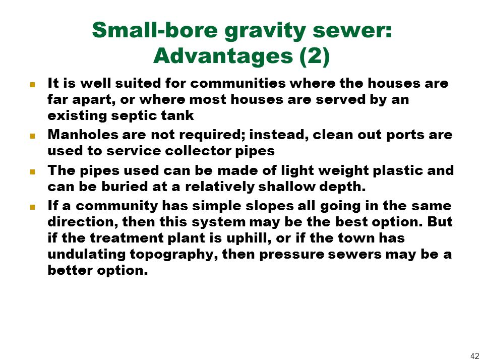 Small-bore gravity sewer: Advantages (2)