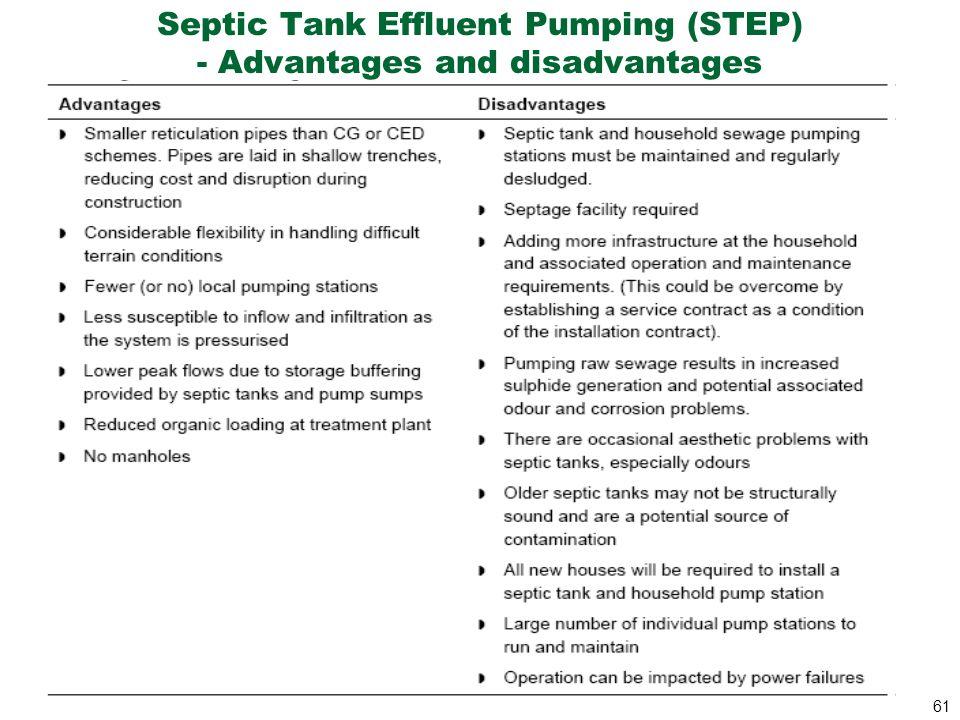 Septic Tank Effluent Pumping (STEP) - Advantages and disadvantages
