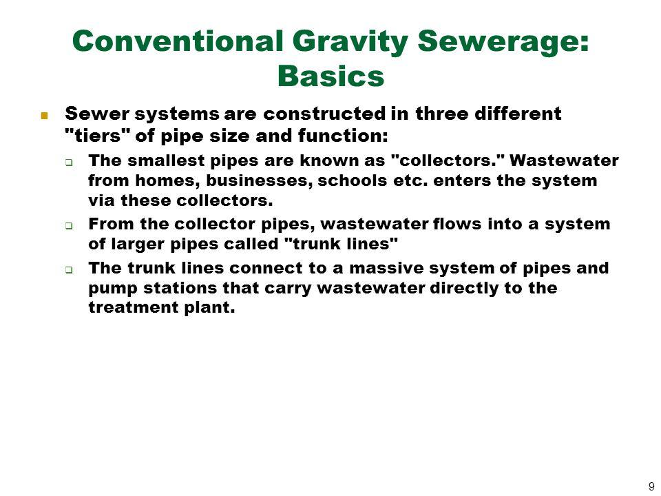Conventional Gravity Sewerage: Basics