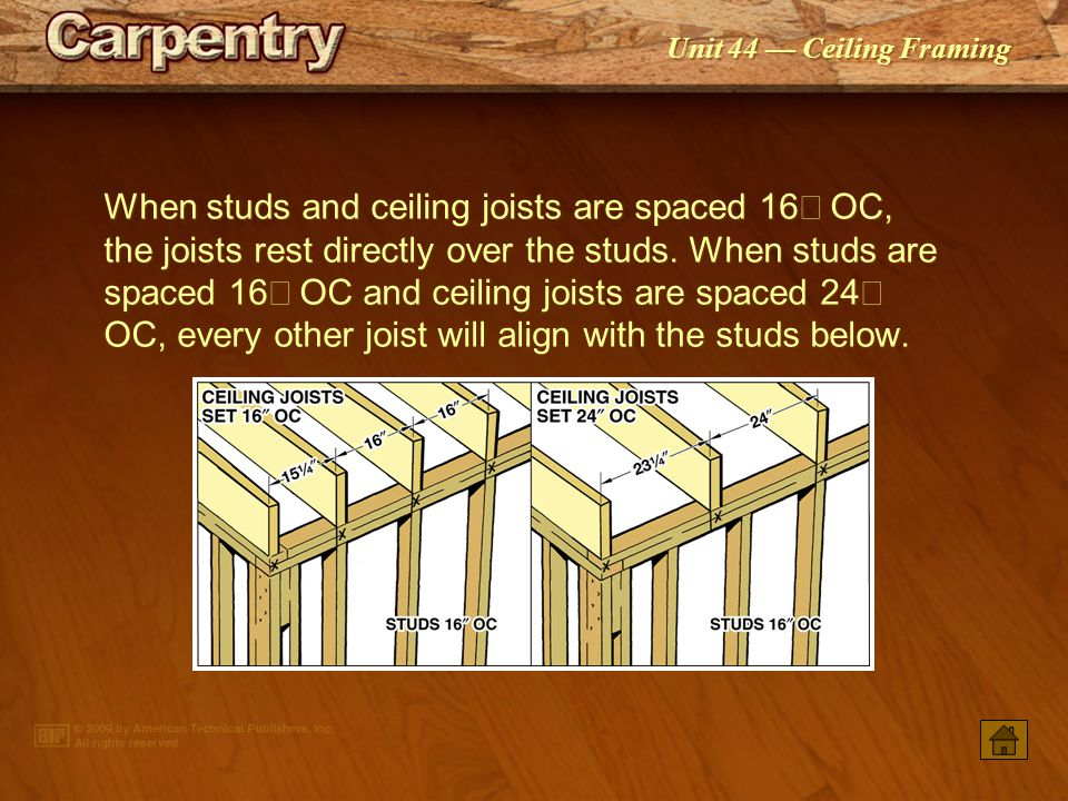 When studs and ceiling joists are spaced 16² OC, the joists rest directly over the studs. When studs are spaced 16² OC and ceiling joists are spaced 24² OC, every other joist will align with the studs below.