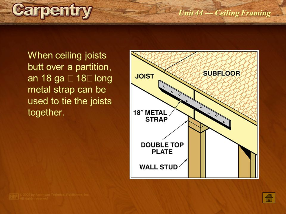 When ceiling joists butt over a partition, an 18 ga ´ 18² long metal strap can be used to tie the joists together.