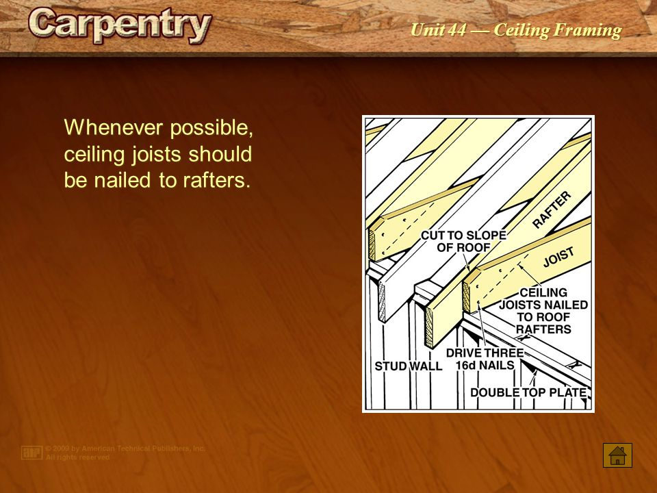 Whenever possible, ceiling joists should be nailed to rafters.