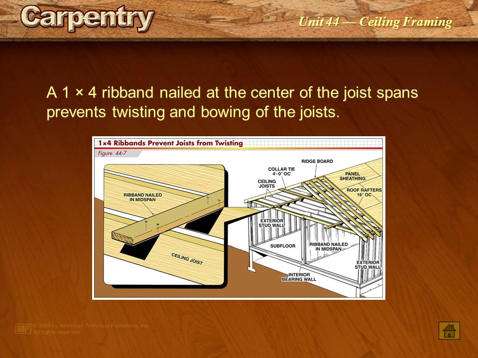 A 1 × 4 ribband nailed at the center of the joist spans prevents twisting and bowing of the joists.