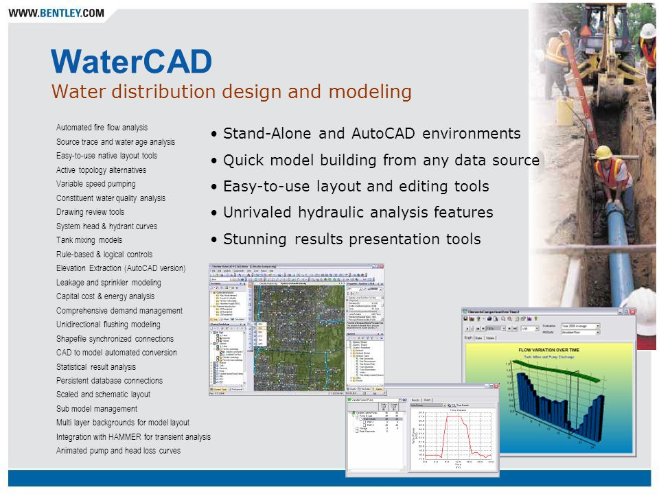 WaterCAD Water distribution design and modeling