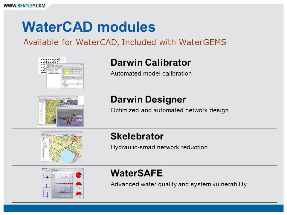 WaterCAD modules Darwin Calibrator Darwin Designer Skelebrator