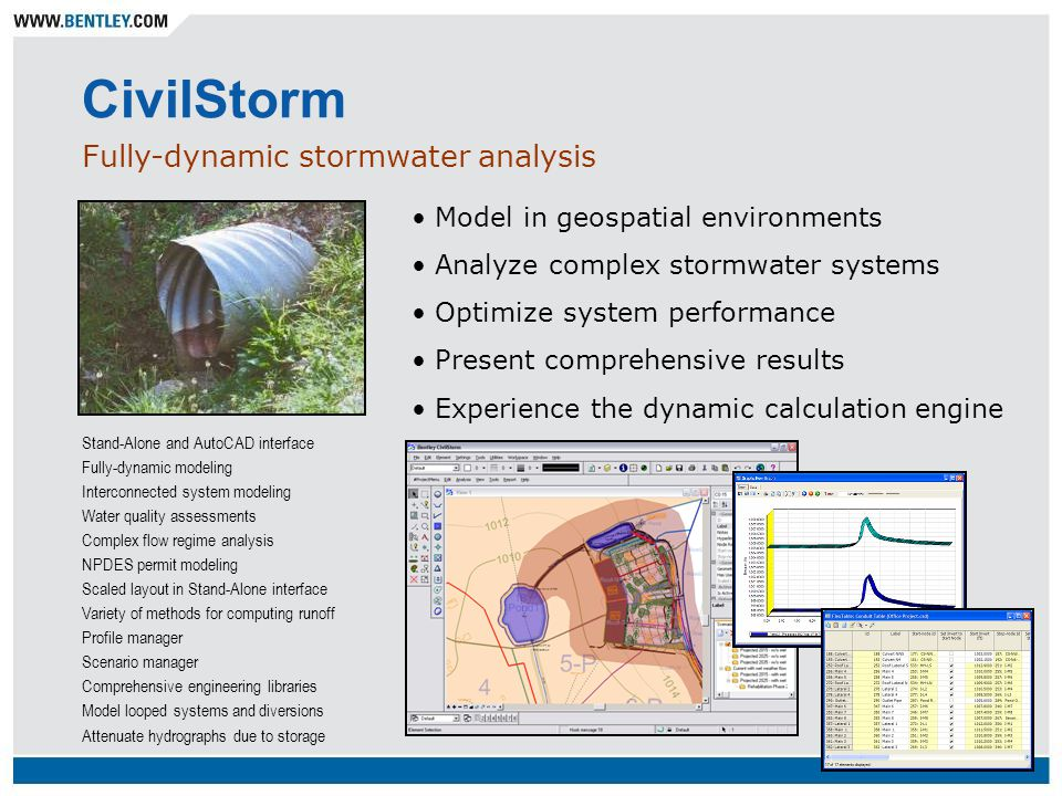 CivilStorm Fully-dynamic stormwater analysis