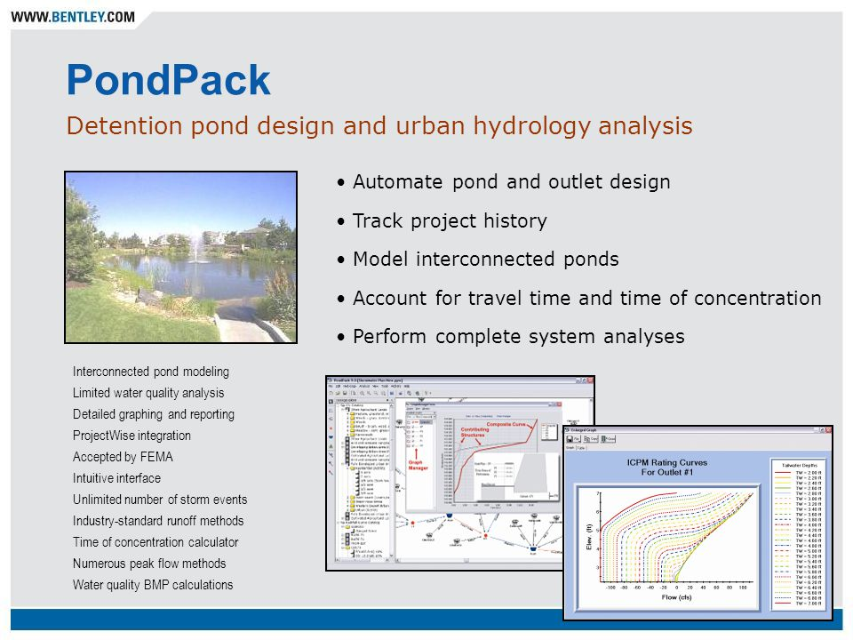 PondPack Detention pond design and urban hydrology analysis