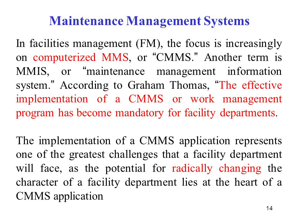 Maintenance Management Systems