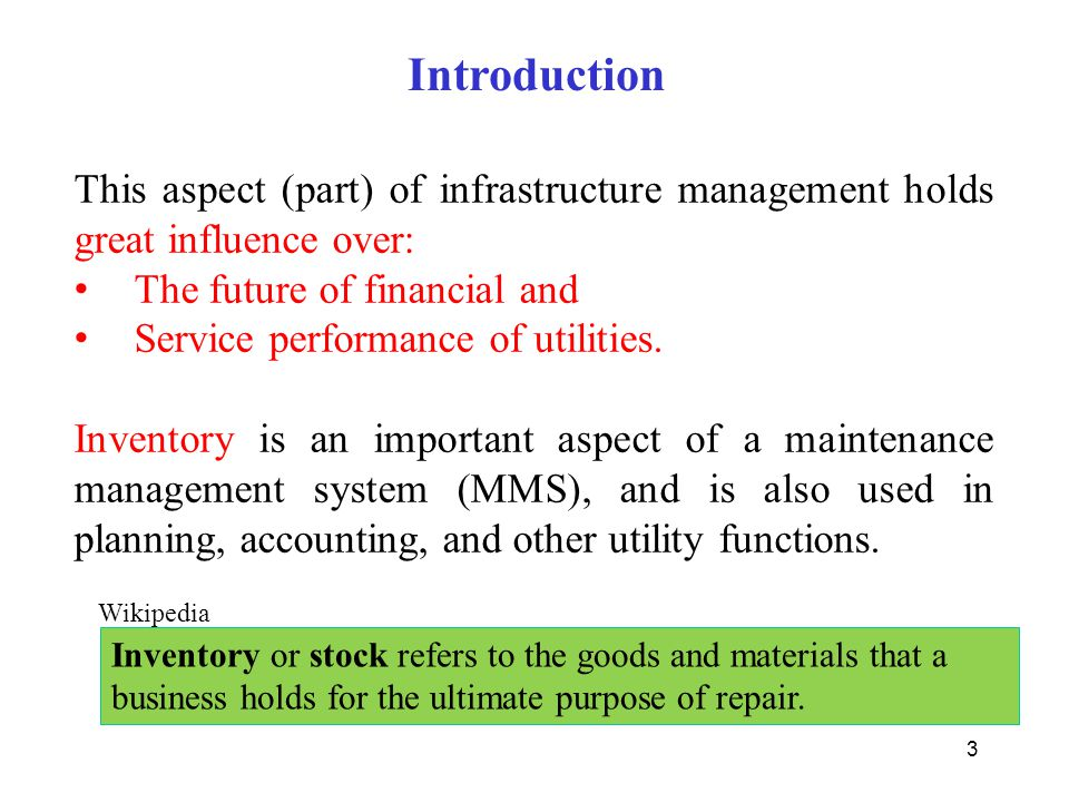 Introduction This aspect (part) of infrastructure management holds great influence over: The future of financial and.