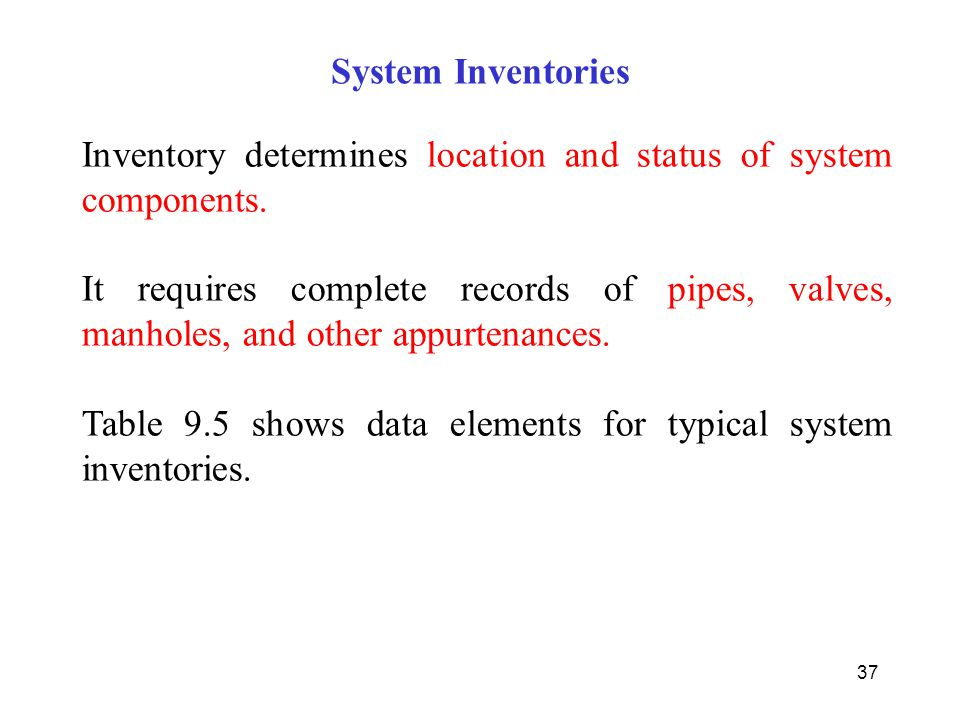 System Inventories Inventory determines location and status of system components.