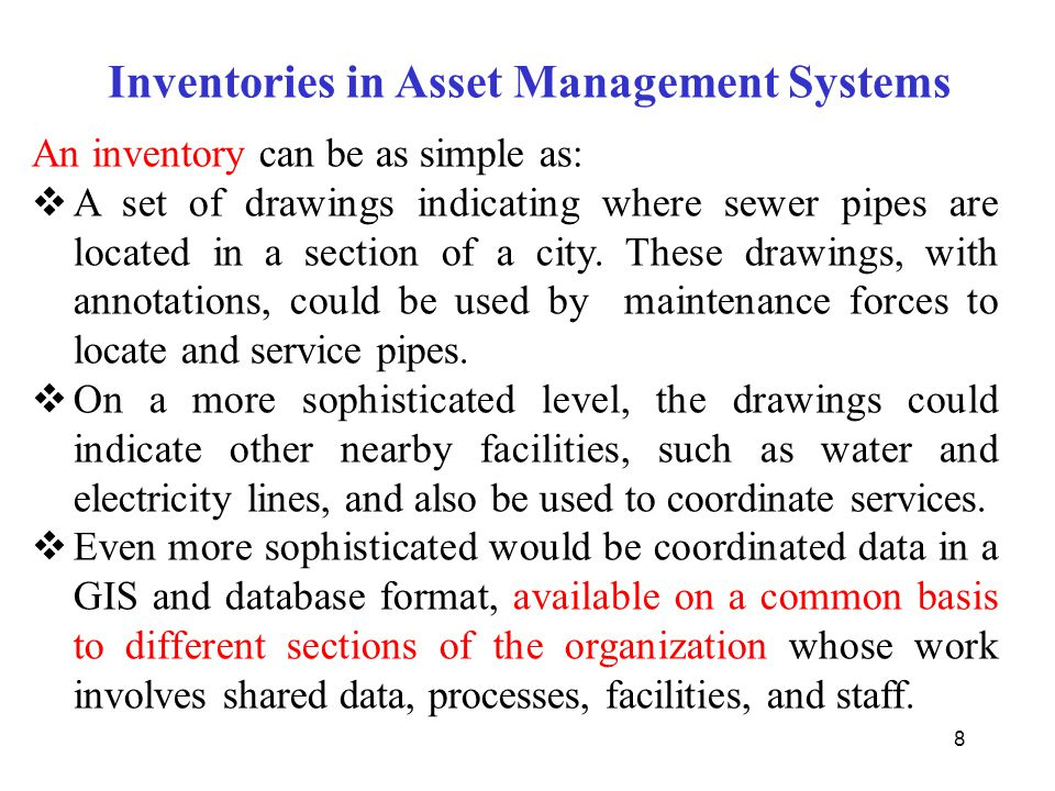 Inventories in Asset Management Systems