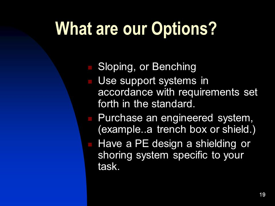 What are our Options Sloping, or Benching