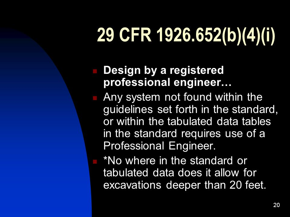 29 CFR 1926.652(b)(4)(i) Design by a registered professional engineer…