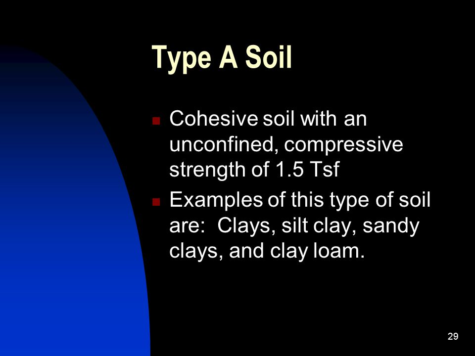 Type A Soil Cohesive soil with an unconfined, compressive strength of 1.5 Tsf.