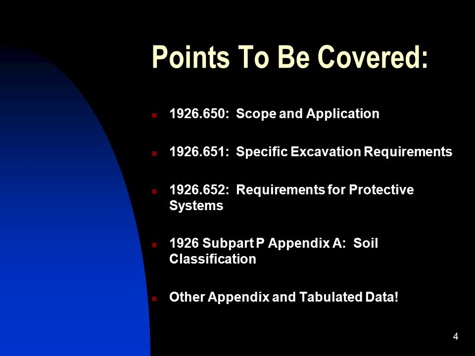 Points To Be Covered: 1926.650: Scope and Application