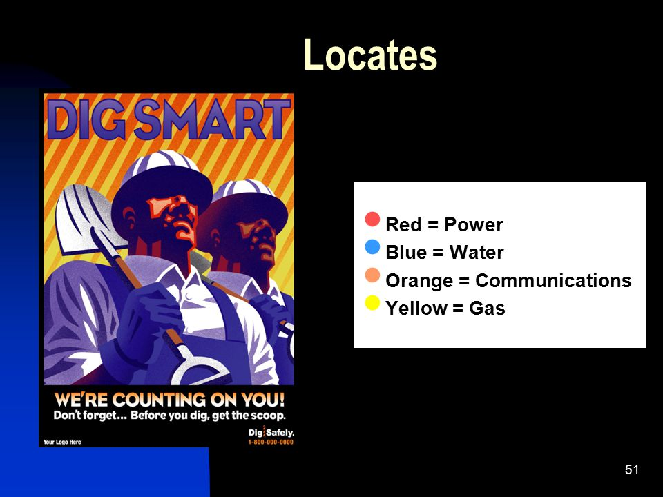 Locates Red = Power Blue = Water Orange = Communications Yellow = Gas