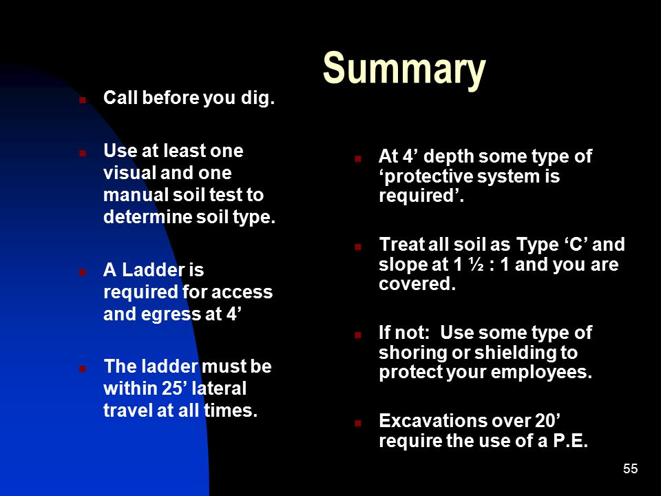 Summary Call before you dig.