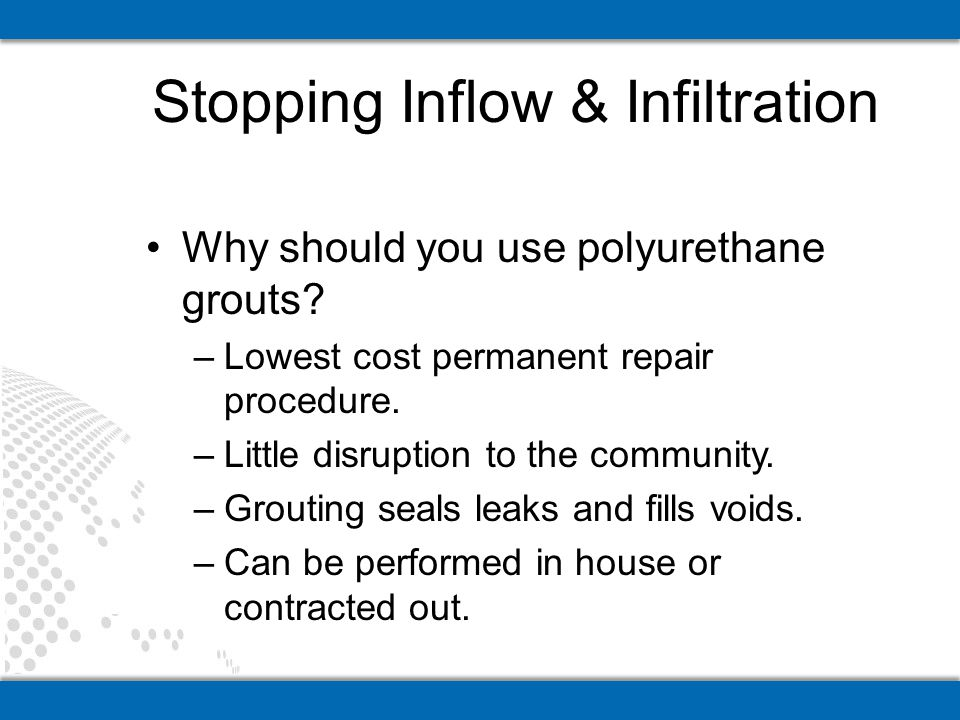 Stopping Inflow & Infiltration