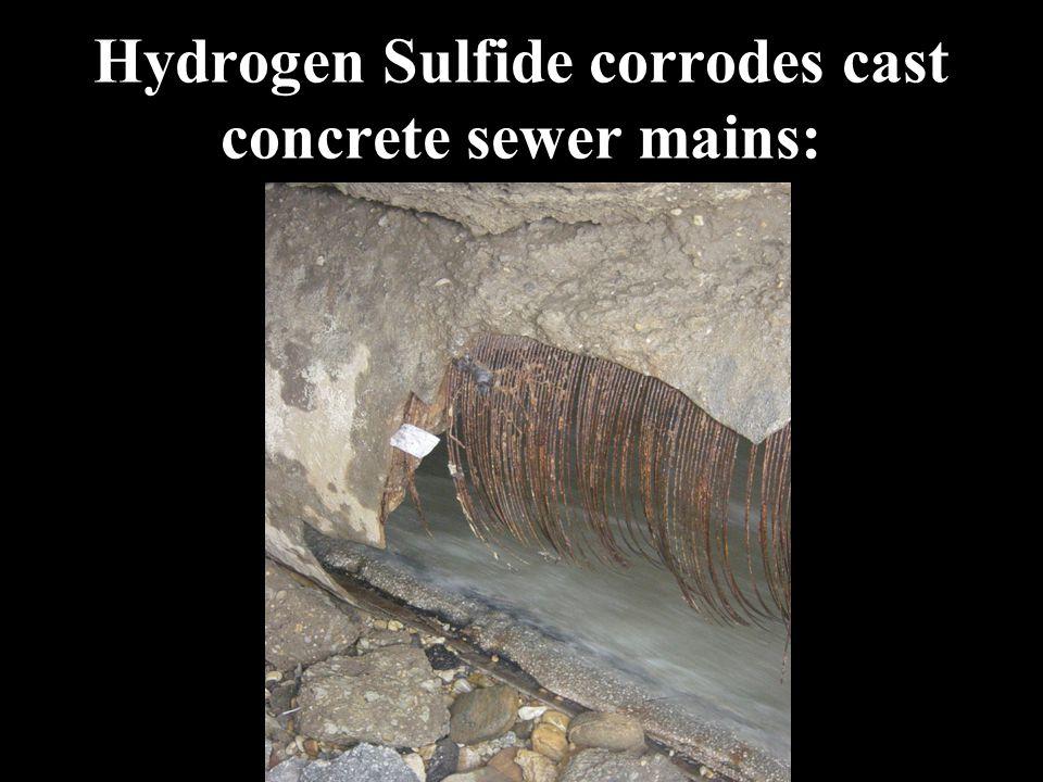 Hydrogen Sulfide corrodes cast concrete sewer mains: