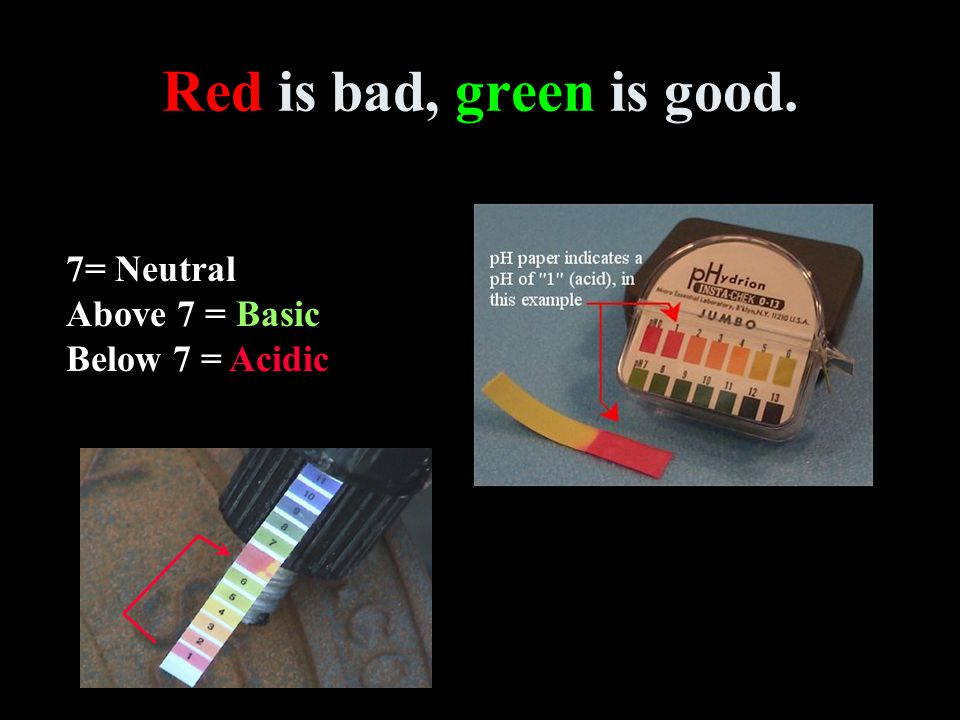 Red is bad, green is good. 7= Neutral Above 7 = Basic Below 7 = Acidic