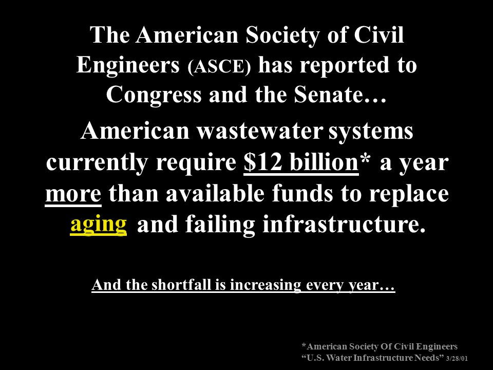 The American Society of Civil Engineers (ASCE) has reported to Congress and the Senate…