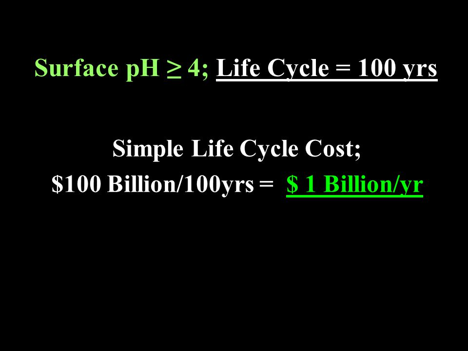 Surface pH ≥ 4; Life Cycle = 100 yrs