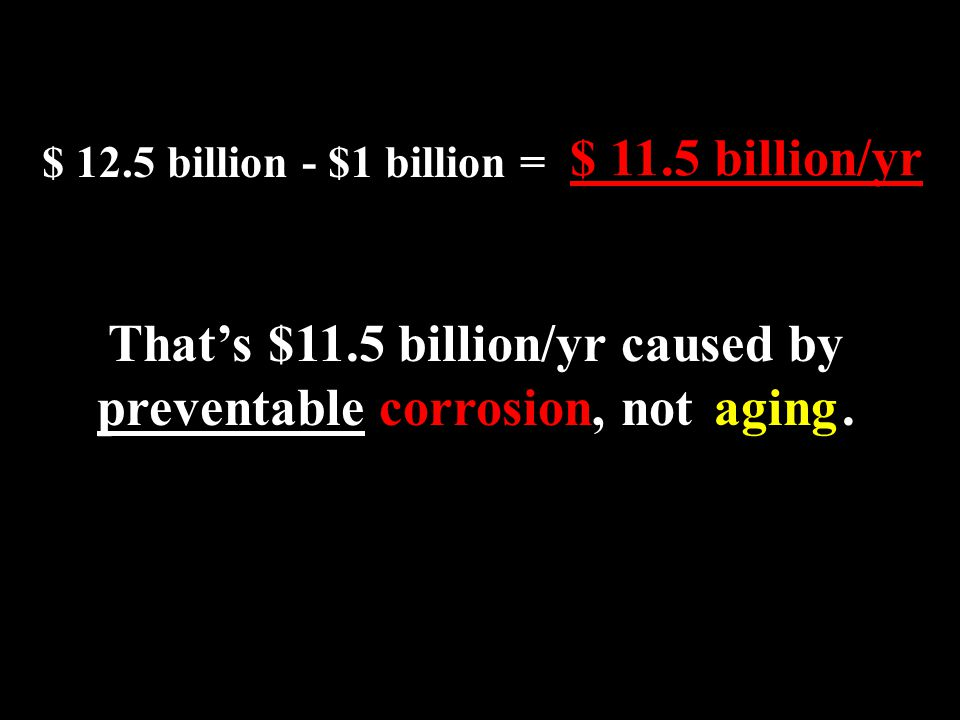 That's $11.5 billion/yr caused by preventable corrosion, not .
