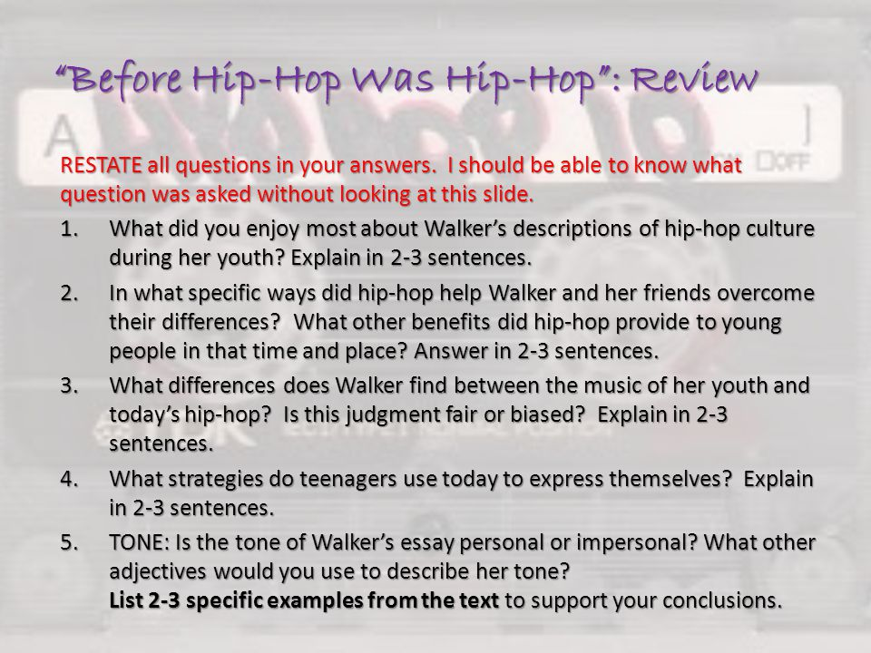 what type of essay is before hip hop was hip hop Hip-hop was created in the most problem districts of new york city by african type essay studybay latest orders essay other a brief history of hip-hop music.