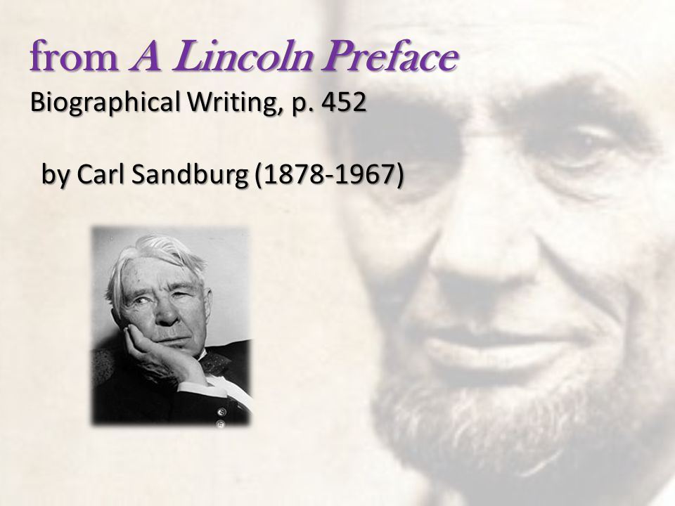 from A Lincoln Preface Biographical Writing, p. 452
