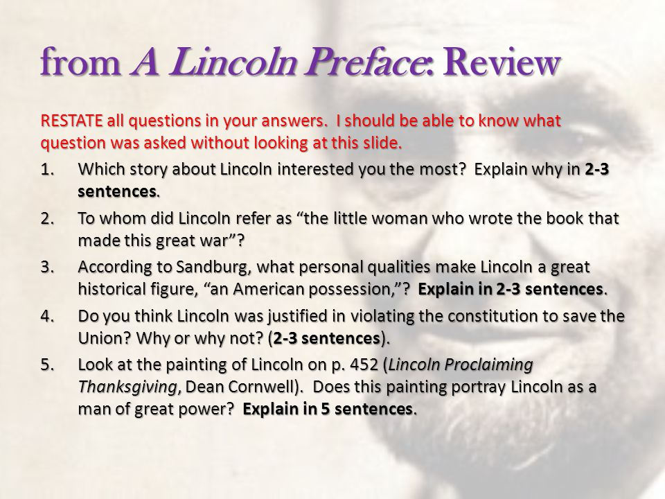 from A Lincoln Preface: Review