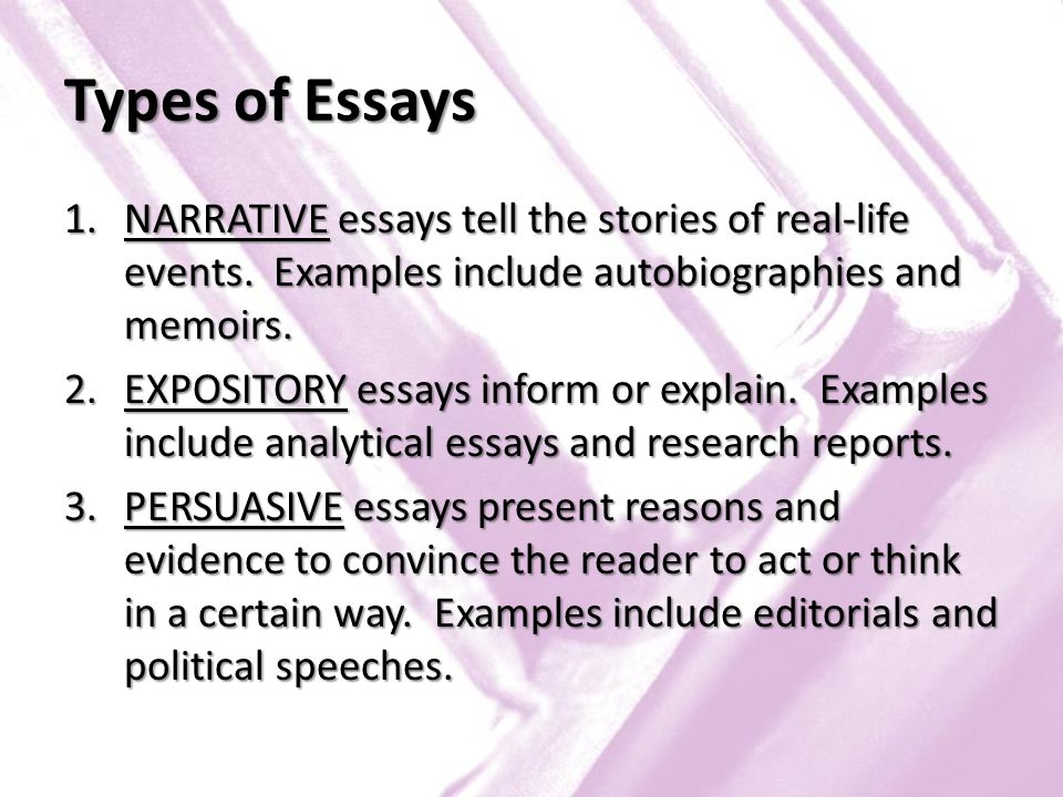 three types of essays This essay has been submitted by a law student this is not an example of the work written by our professional essay writers 3 types of euthanasia, voluntary euthanasia, non-voluntary.