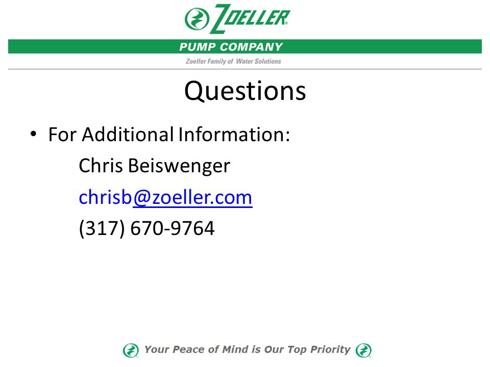 Questions For Additional Information: Chris Beiswenger