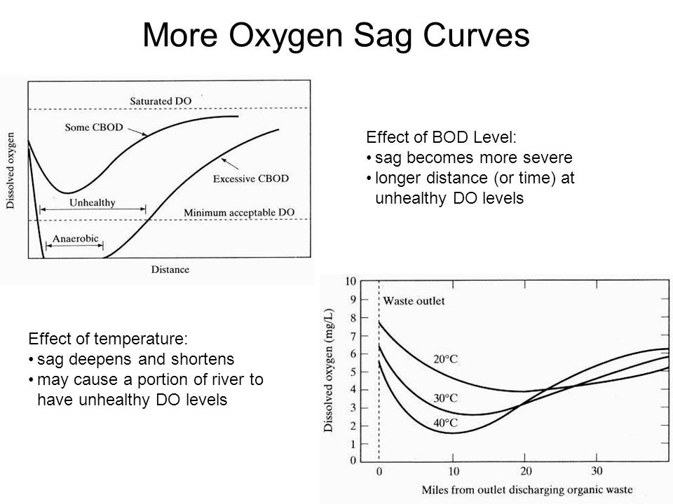 More Oxygen Sag Curves Effect of BOD Level: sag becomes more severe