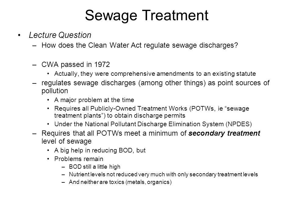 Sewage Treatment Lecture Question