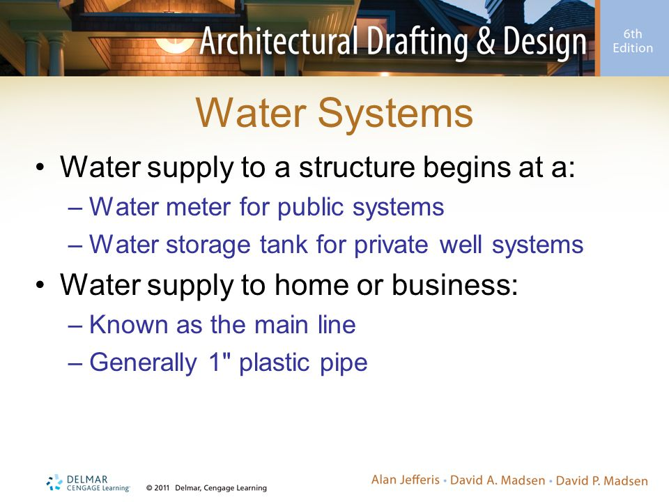 Water Systems Water supply to a structure begins at a: