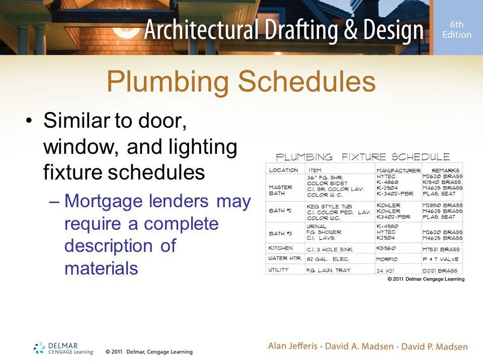 Plumbing Schedules Similar to door, window, and lighting fixture schedules.