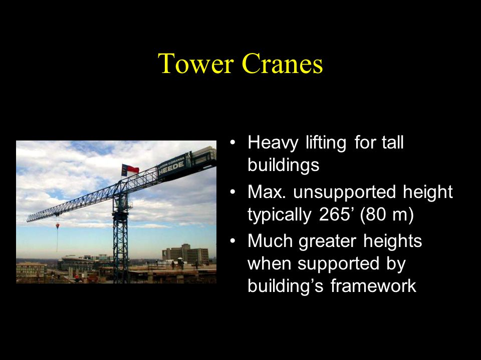 Tower Cranes Heavy lifting for tall buildings