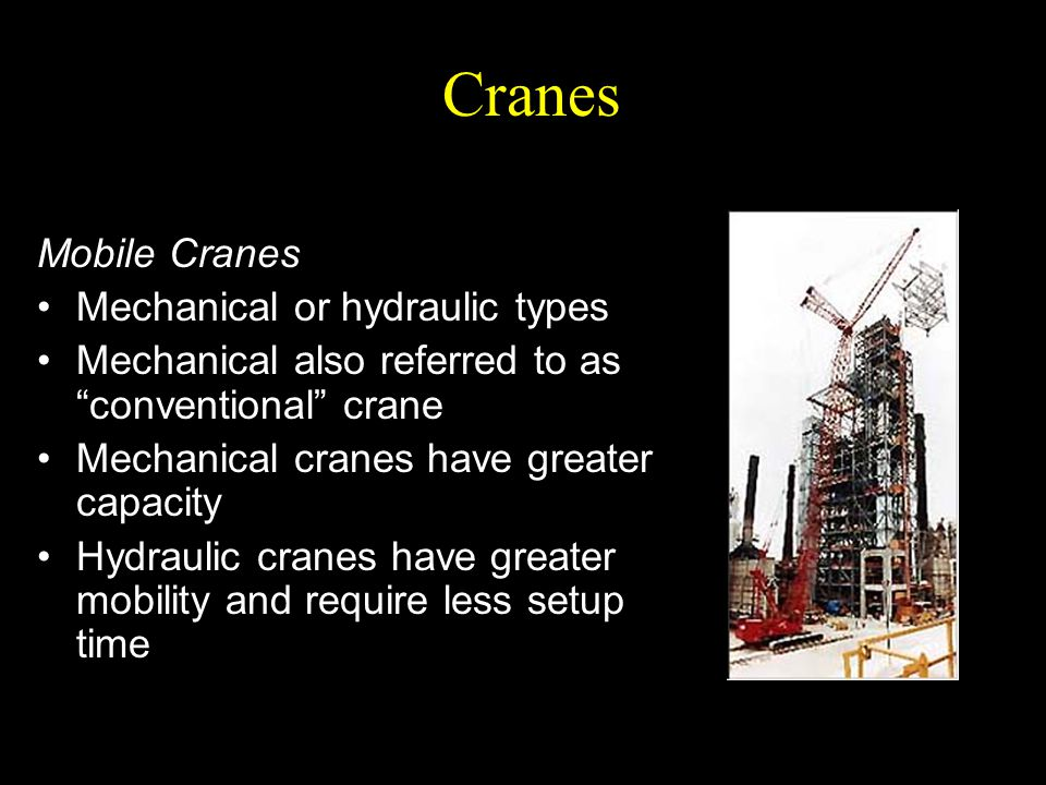 Cranes Mobile Cranes Mechanical or hydraulic types