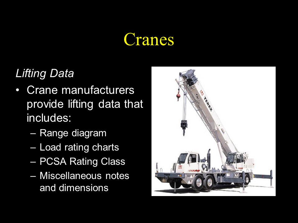 Cranes Lifting Data. Crane manufacturers provide lifting data that includes: Range diagram. Load rating charts.