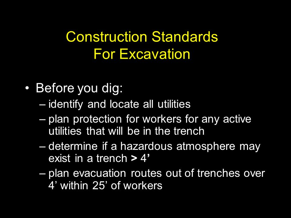 Construction Standards For Excavation