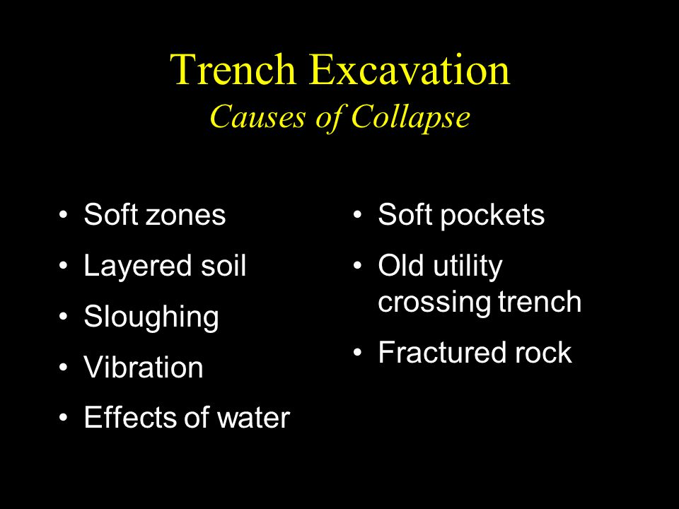 Trench Excavation Causes of Collapse