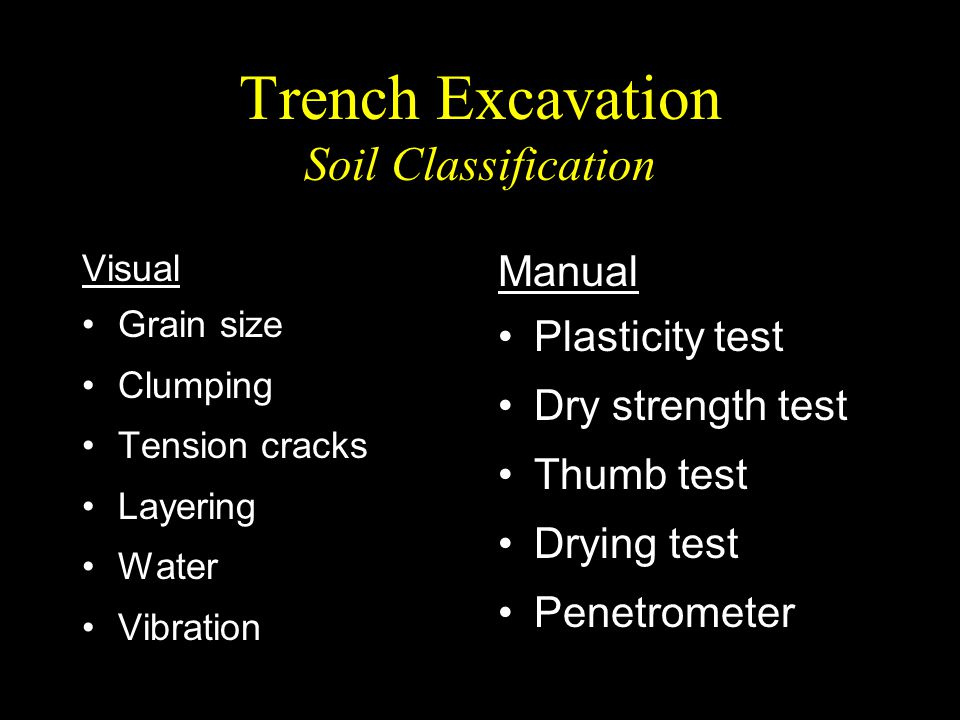 Trench Excavation Soil Classification