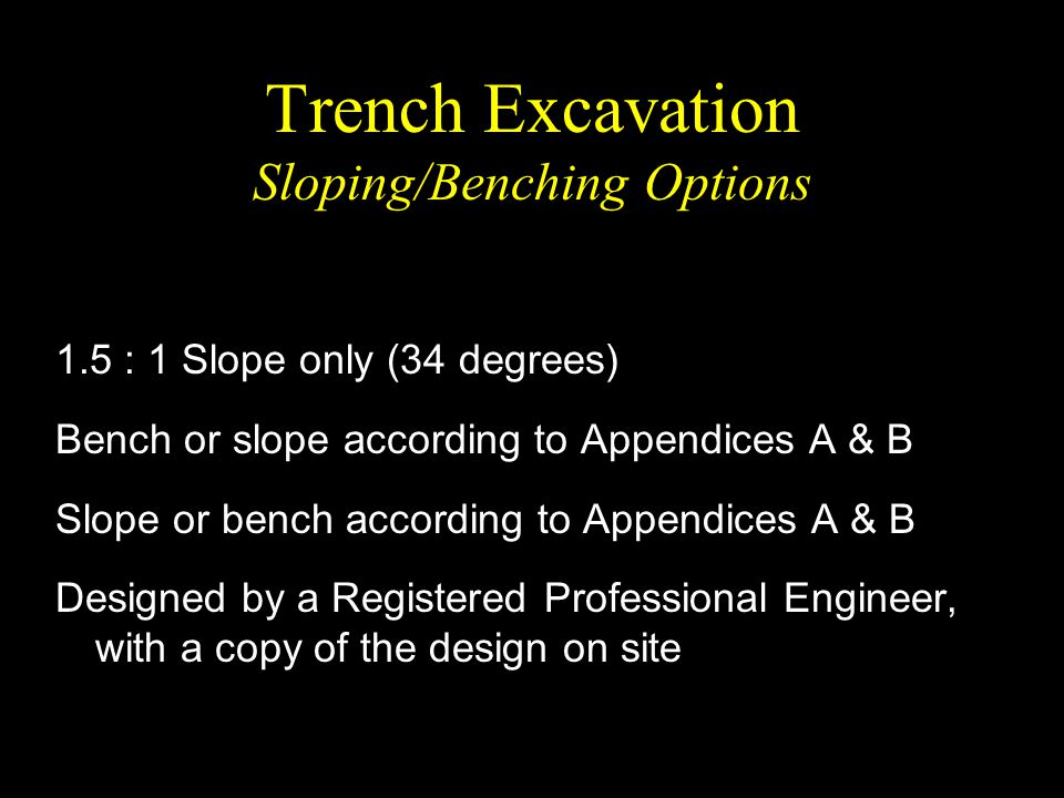 Trench Excavation Sloping/Benching Options