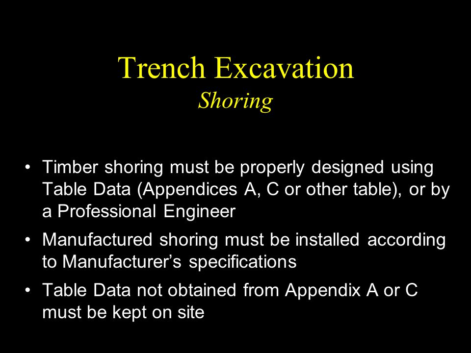 Trench Excavation Shoring