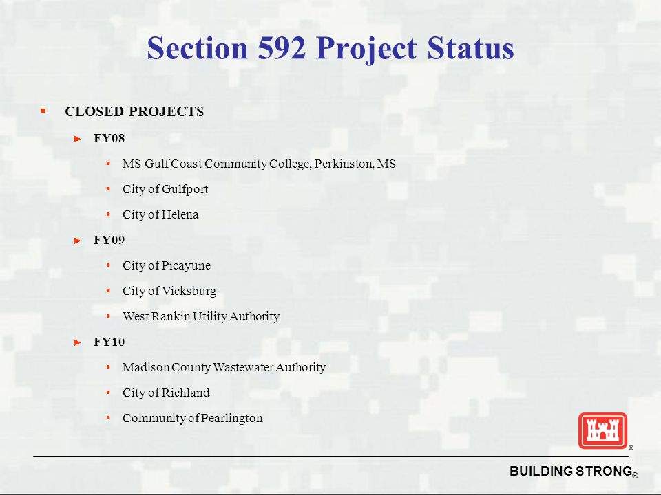 Section 592 Project Status
