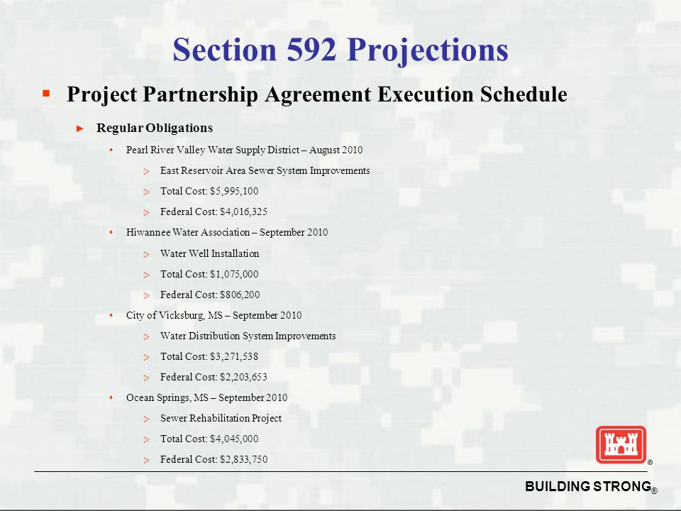 Section 592 Projections Project Partnership Agreement Execution Schedule. Regular Obligations.