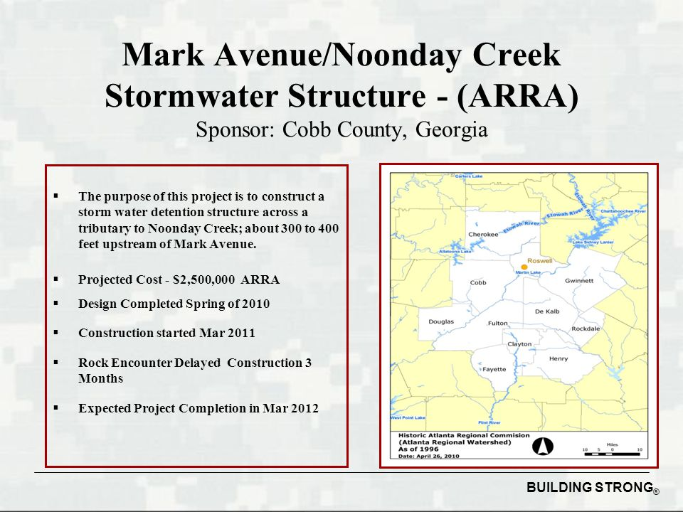 Mark Avenue/Noonday Creek Stormwater Structure - (ARRA) Sponsor: Cobb County, Georgia