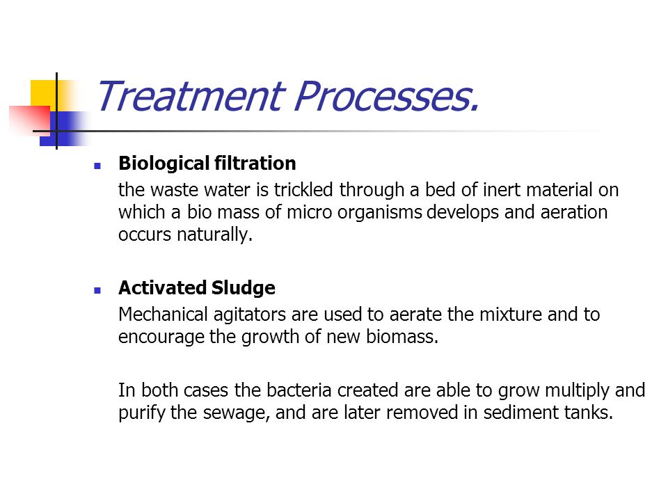 Treatment Processes. Biological filtration