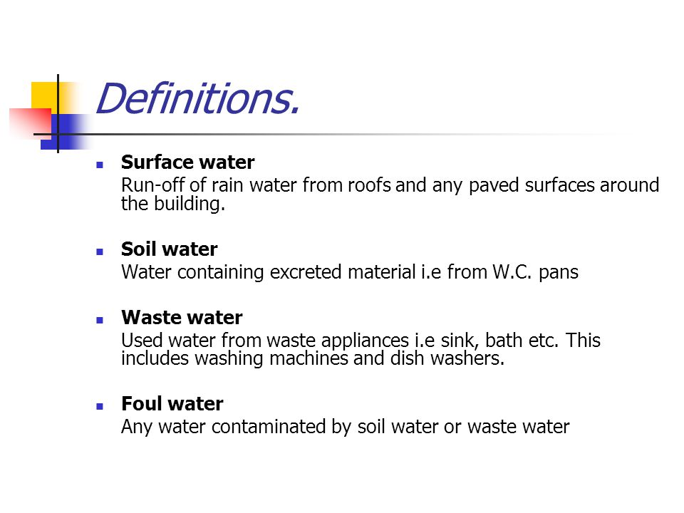 Definitions. Surface water
